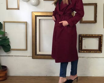Maroon Long 90s Trench with Waist Tie - FREE SHIP - sz6-12