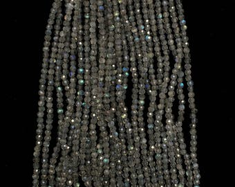 """Natural LABRADORITE Micro Faceted Beads, Size 2 To 3MM, 13""""Long Strand/ Fine Faceting, Fine Quality, More Sizes Available, Price per Strand"""