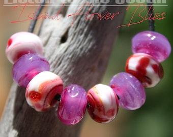 Island Flower Bliss Organic Seeds glass lampwork beads for Jewelry Design