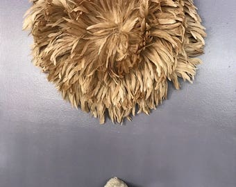 "SALE Xlarge 31 "" Beige Handcrafted African JuJu Hat Bohemian Feather Decor US Seller"