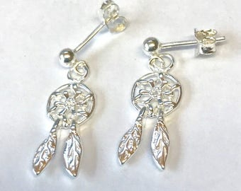 Mini Dreamcatcher Charm Sterling Silver earrings