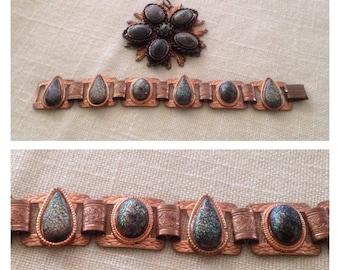 On Sale Vintage Copper Bracelet and Pendant