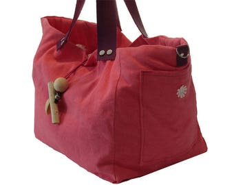 Tote handmade of linen and cotton one piece