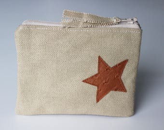 Wallet with camel cotton linen and Star