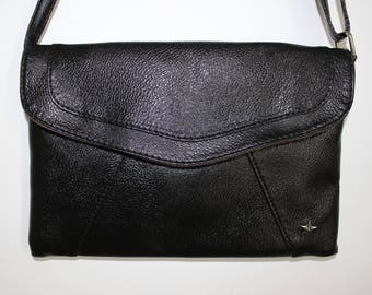 Black faux leather clutch bag