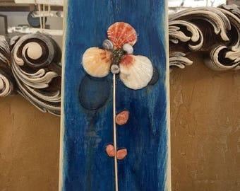 Wallhanging, seashells, nature decor, wood slab decor, spring/summer decor