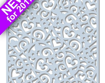 Sweet Dixie Wedding Collection Stencil - Cascading Hearts 6 x 6