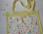 1616  Tote Bag Beach Picnic Bag Cath Kidston Patchwork 6 coin Phone purse. Handmade set. Seaside Stars Multicolored. Teachers Gift.