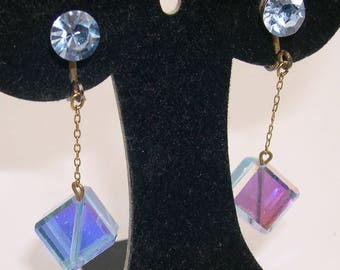 Vintage Blue Iridescent Glass Cube & Rhinestone Dangle Clip Earrings