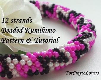 12 strands beaded kumihimo pattern tutorial zigzag Missoni bracelet