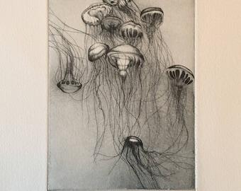 Small jellyfish Waltz 1, contemporary print