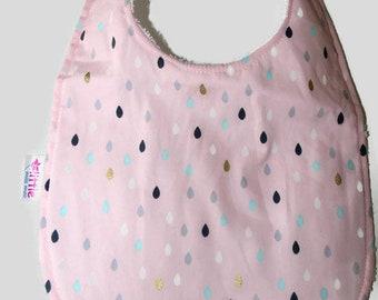 Baby Bib Raindrops Pink