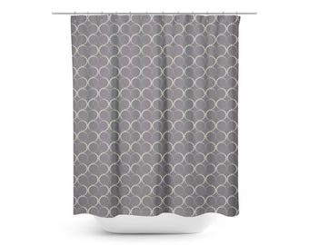Infinity Shower Curtain Spinning Dot Icons Grey Geometric Pattern