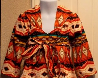 Aztec Print Girl's Kimono Style Knit Hoodie Jacket