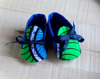Blue Green Abstract African Wax Print Baby Booties