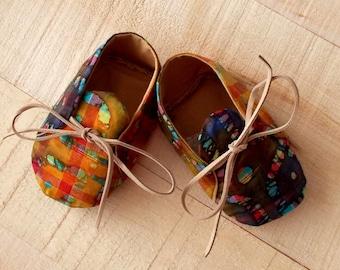 Indian Batik Kaleidoscope Diamond Orange /Purple and Maroon Print Baby Booties