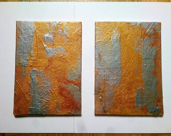 SALE Abstract Painting / Set of Two Small Gold Painting Set of Wall Art / Original Paintings on Canvas 5 x 7 Painting Set Textured Art Gift