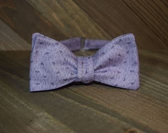 Purple Floral Self Tie Bow Tie