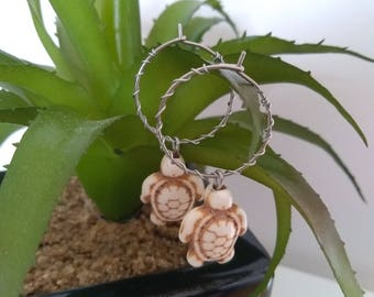 Cute White Turtle and Wire Hoop Earrings