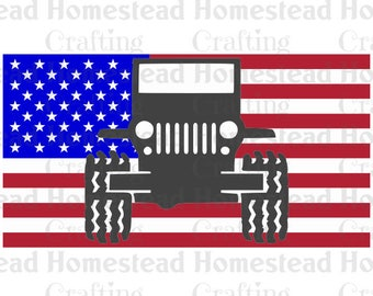 Jeep Wrangler JK on USA flag / Jeep pride flag love America / SVG file for Cricut