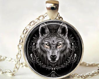 Wolf Necklace - wolf jewelry - wolf pendant - silver wolf necklace - animal necklace - wolf charm - wolf head necklace - wolf jewellery