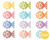 Fish Clipart for Commercial Use - PNG Files in Rainbow Colors   0035