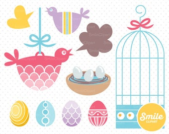 Easter Birds Clipart Illustration for Commercial Use | 0032