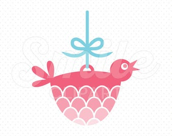 PINK BIRD ORNAMENT Clipart Illustration for Commercial Use | 0110