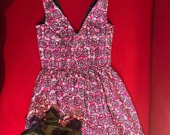 African print short sleeve short dress