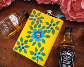 Hand Painted Kashmir Enamelware Gypsy Hippie Floral Shabby Chic Glamping Camping Festival Whiskey Vodka Gin Hip Flask
