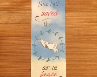 Bible Verse Bookmark - Luke 7:50 -  handmade WITHOUT tassel  (stock #6) go in peace