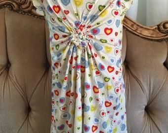 Light summer cotton dress gathered for a  Heart centred Dress