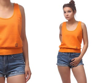 Sleeveless Sweatshirt 80s Crop Top Plain Shirt Sleeveless 80s Tank Top Tee 1980s Nerd Geek Retro Vintage Orange Pioneer Logo on Front Small