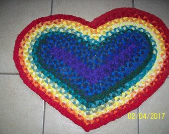 Rainbow Heart Shaped Rug