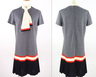 1960s R&K KNITS Drop Waist Style Dress With Scarf - Excellent