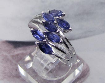 Ring silver and Iolite size 50