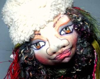 Cloth Art Doll, Christmas Winter Forest Maiden Soft Sculpture,  Elf Fairy Fantasy Doll, JDCreativeDolls