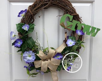 Spring Wreath, Summer Wreath, Purple Wreath, Grapevine Wreath, Wreath Street Floral, Garden Wreath, Front Door Wreath, Farmhouse Wreath