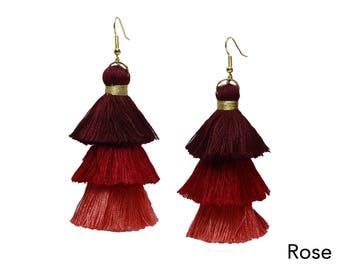 Tassel earrings jewelry earrings dangle earrings drop earrings long earrings bohemia earrings beach accessories gift for her craft tassels