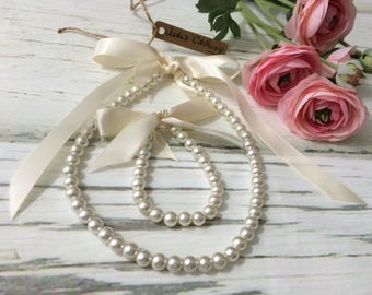 Flower Girl Jewelry Set,Flower Girl Pearl Necklace and Bracelet Set,Ivory Pearl Jewelry Set