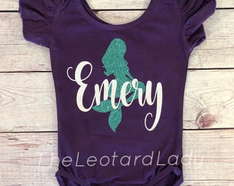 Mermaid leotard - mermaid birthday - mermaid party - Personalized leotard - toddler leotard - girls leotard - child leotard -
