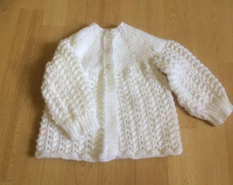 Baby cardigan in white, 1-2 years