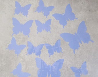 12 butterflies blue 3D stick
