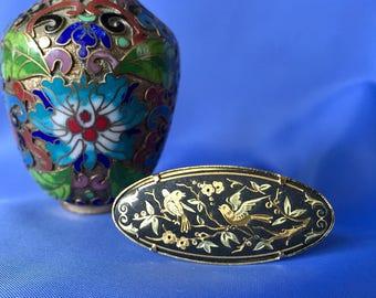 Vintage Damascene Oval Bird and Flower Brooch, Vintage Damascene Brooch, Damascene Jewelry, Bird Brooch, Bird Pin, Floral Damascene Pin