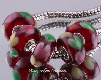 Red with Green, Pink and Yellow Hearts Murano Glass Bead with Silver Metal Core for European Style Charm Bracelets