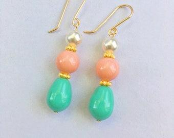 Swarovski pearl earrings, Swarovski pink coral earrings,Swarovski jade earrings