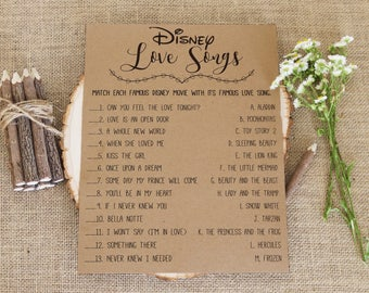 Disney Love Songs Bridal Shower Game . Printable Instant Download . Rustic, Kraft, Funny, Fun, Country Bridal Shower Game