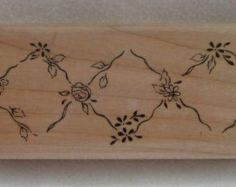 Floral Diamonds Rubber Stamp by Impression Obsession