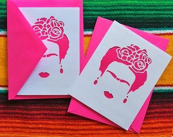 Frida Kahlo Greeting Card - Paper Cut Card