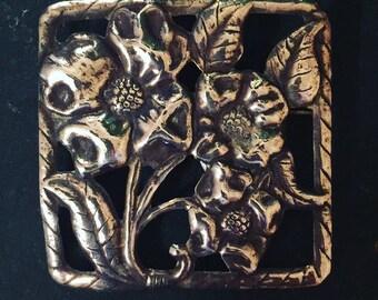Sterling Silver Flower Brooch Vintage